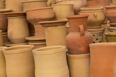 Handmade moroccan clay dishware in a pottery factory Stock Photos