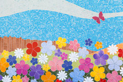 Handmade mosaic. Wall made with small ceramic pieces Royalty Free Stock Photos