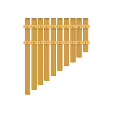 Handmade music folk instrument panpipe flute vector illustration. Stock Photo