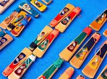Handmade musical instruments, whistles of carnival in Cadiz, Spain Stock Photos