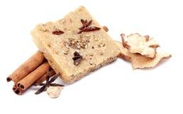 Handmade mydło z cynamonem i anyż gramy główna rolę na białym tle Obraz Stock