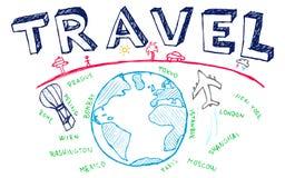 Handmade nakreślenie podróż, wektoru set Obrazy Royalty Free