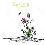 Handmade nakreślenie wiosna kwiat ilustracja wektor