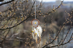 Handmade native american dream catcher on background of rocks an Royalty Free Stock Photos