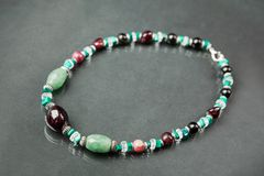 Handmade natural beads necklace Stock Images