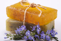 Handmade natural rosemary soaps. Royalty Free Stock Photography