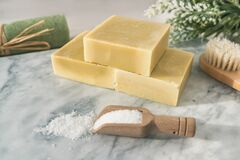 Free Handmade Natural Soap Bars With Epsom Salt And Scrubbing Towel For Skincare Exfoliation Spa Therapy. Top View Of Olive Stock Photos - 176611623