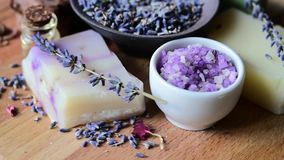 Handmade natural Soap with dried lavender stock video