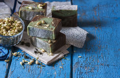 Handmade natural soap with essential oil of a jasmine and green Stock Photos