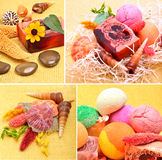 Handmade natural soap, shells and pebbles Stock Photo