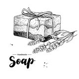 Handmade natural soap. Vector hand drawn illustration of organic cosmetic with lavender medical flowers. Herbal bodycare. Great for label, logo, banner royalty free illustration