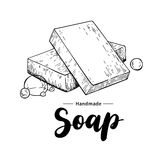 Handmade natural soap. Vector hand drawn illustration of organic stock illustration