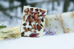 Free Handmade Natural Soaps And Soft Made With Dried Flowers And Herbs Herbalism Stock Photography - 178939932