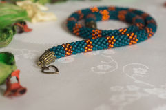 Handmade necklace from beads Royalty Free Stock Photography