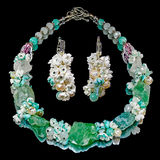 Handmade necklace and earrings Royalty Free Stock Photography