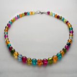 Handmade necklace made of colorful beads Royalty Free Stock Photo
