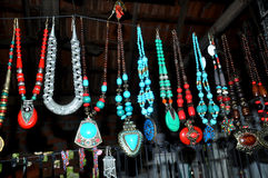Handmade necklaces and beads Royalty Free Stock Photography