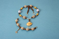 Handmade necklaces and bracelet knitted and wooden beads Stock Photo