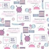 Handmade needlework badges vector pattern Royalty Free Stock Image
