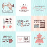 Handmade needlework badges vector set. Set of vintage retro handmade needlework badges, labels and logo elements, retro symbols for local sewing shop, knit club Stock Image