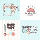 Handmade needlework craft badges sewing banners fashion tailoring tailor handicraft elements vector illustration. Handmade needlework badges sewing fashion Stock Image