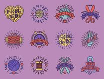 Handmade needlework craft badges sewing fashion tailoring tailor handicraft elements vector illustration. Handmade needlework badges, labels and logo sewing Royalty Free Stock Image