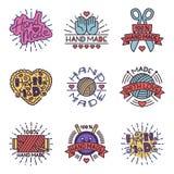 Handmade needlework craft badges sewing fashion tailoring tailor handicraft elements vector illustration. Royalty Free Stock Images