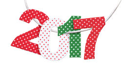 Handmade New Year 2017 numbers. Stock Photos