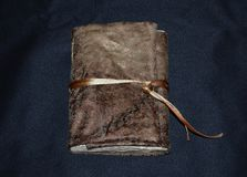 Handmade notebook in a soft textile cover, front view Stock Photography