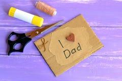 Handmade ojca dnia karta Fotografia Royalty Free