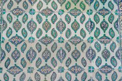 Handmade Old Blue Turkish Tiles from Topkapi Palace stock photography