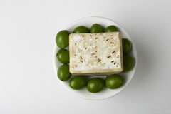 Handmade olive soap with green fresh olives. Stock Images