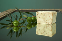 Handmade olive soap with olive branch. Royalty Free Stock Images
