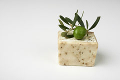 Handmade olive soap with olive branch. Royalty Free Stock Photography