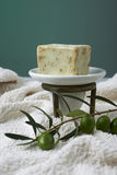 Handmade olive soap with olive branch and a towel. Stock Photography