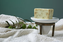Handmade olive soap with olive branch and a towel. Stock Image
