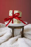 Handmade olive soap with a towel, as a gift. Stock Photo