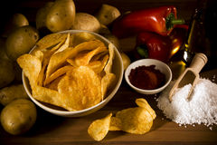 Handmade organic potato chips royalty free stock photo