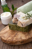 Handmade Organic Soap and Face Cream Stock Photos