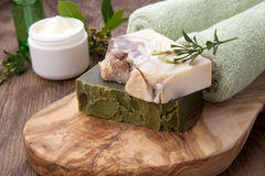Handmade Organic Soap and Face Cream Royalty Free Stock Photography