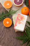 Handmade Organic Soap. Spa set - handmade citrus oil organic soap, fresh oranges, and fern. Best suited for relaxing and health commercials Stock Photography
