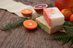 Handmade Organic Soap. Spa set - handmade citrus oil organic soap, fresh oranges, and fern. Best suited for relaxing and health commercials Stock Image