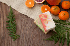 Handmade Organic Soap. Spa set - handmade citrus oil organic soap, fresh oranges, and fern. Best suited for relaxing and health commercials Stock Photo