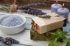 Handmade Organic Soap. Spa set - handmade organic soap, fresh lavender, and bath salt. Scented candles. Best suited for relaxing and health commercials Royalty Free Stock Photos