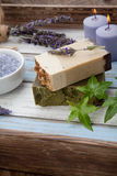 Handmade Organic Soap. Spa set - handmade organic soap, fresh lavender, and bath salt. Scented candles. Best suited for relaxing and health commercials Stock Photography