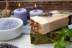 Handmade Organic Soap. Spa set - handmade organic soap, fresh lavender, and bath salt. Scented candles. Best suited for relaxing and health commercials Stock Images