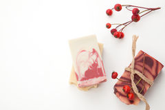 Handmade Organic Soap. Spa set - handmade rose organic soap, dried rose flowers, and rosehips. Best suited for relaxing and health commercials Stock Images
