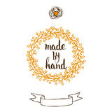 Handmade. Original custom hand lettering. Stock Photos