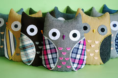 Handmade owl toys Stock Images