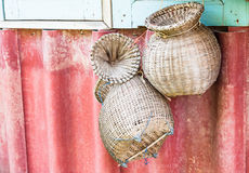 Handmade łozinowi kosze dla ryba Obrazy Royalty Free